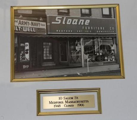 Marshall Sloane started out in the furniture business, with a store on Salem Street in Medford, shown in this photo of a photograph. The store closed in 1966.